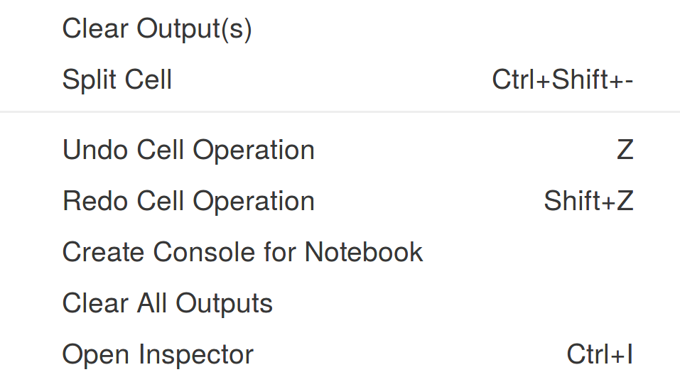 Contextual menu in the notebook