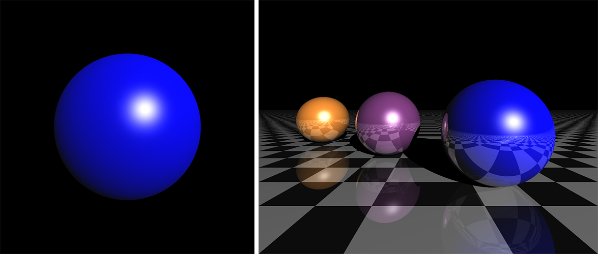 Ray tracing with Python and Cython. Left: the outcome of this recipe. Right: outcome of an extended version.