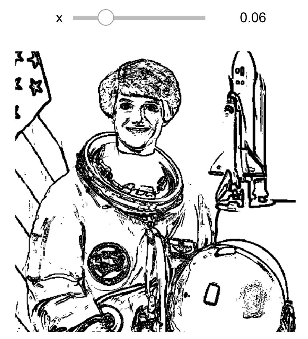 Interactive widget for a sketch effect